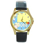 mother s day - Round Gold Metal Watch