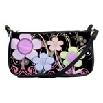 Flower Power Blatck Clutch Purse - Shoulder Clutch Bag
