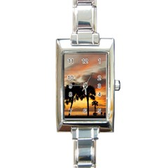 Tropical Vacation Rectangular Italian Charm Watch from ArtsNow.com Front