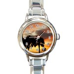 Tropical Vacation Round Italian Charm Watch