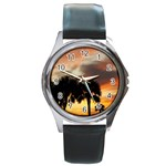 Tropical Vacation Round Metal Watch
