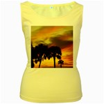 Tropical Vacation Women s Yellow Tank Top