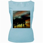 Tropical Vacation Women s Baby Blue Tank Top