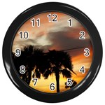 Tropical Vacation Wall Clock (Black)