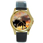 Tropical Vacation Round Gold Metal Watch