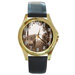 Private Pier Round Gold Metal Watch