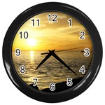 Yellow Sky Wall Clock (Black)