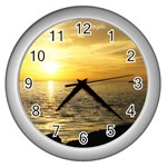 Yellow Sky Wall Clock (Silver)