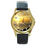 Yellow Sky Round Gold Metal Watch