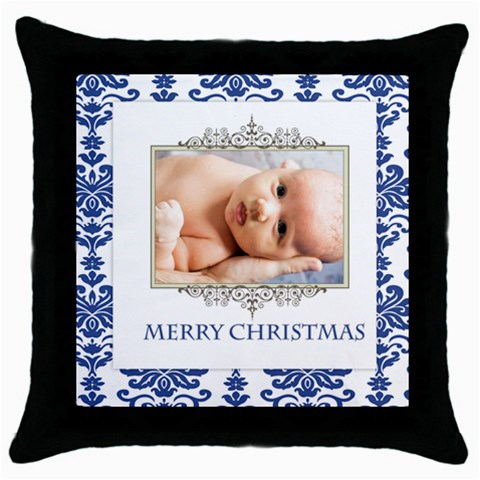 Happy Christmas By Wood Johnson   Throw Pillow Case (black)   7dupcdqhv6oc   Www Artscow Com Front