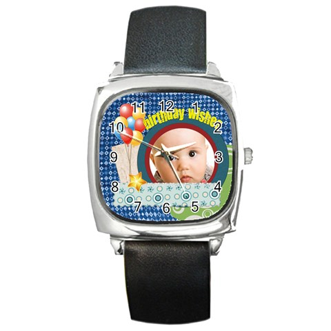 Birthday Wisher By Joely   Square Metal Watch   Al106hssuyex   Www Artscow Com Front