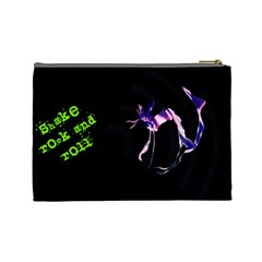 Shake Rock And Roll Cat  Cosmetics Bag  (with Text) By Riksu   Cosmetic Bag (large)   Ve0qmkbhbfeh   Www Artscow Com Back