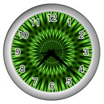 Green Lagoon Wall Clock (Silver)