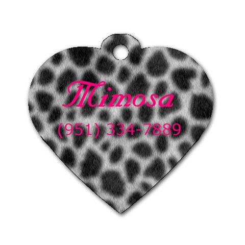 Mimosa s Tag  By Dena    Dog Tag Heart (one Side)   U4ilqdlmzv6w   Www Artscow Com Front