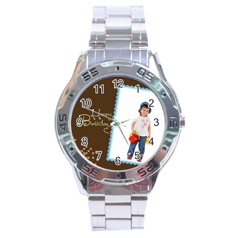 Happy Birthday By Wood Johnson   Stainless Steel Analogue Watch   8jbkldf3k1o7   Www Artscow Com Front