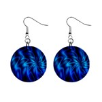 Blue Swirl 1  Button Earrings