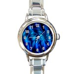 Blue Swirl Round Italian Charm Watch