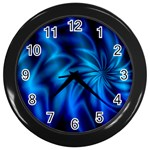 Blue Swirl Wall Clock (Black)