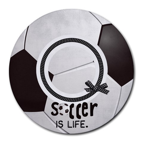 Round Mousepad, Soccer By Mikki   Collage Round Mousepad   Lgmwlfpqyrl2   Www Artscow Com 8 x8 Round Mousepad - 1