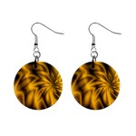 Golden Swirl 1  Button Earrings