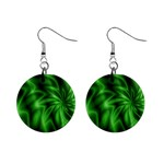 Green Swirl 1  Button Earrings
