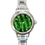 Green Swirl Round Italian Charm Watch