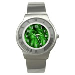 Green Swirl Stainless Steel Watch