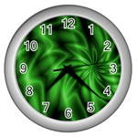 Green Swirl Wall Clock (Silver)