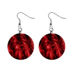 Red Swirl 1  Button Earrings