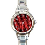 Red Swirl Round Italian Charm Watch