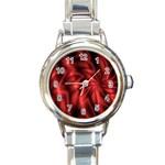 Red Swirl Round Italian Charm Watch
