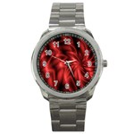 Red Swirl Sport Metal Watch