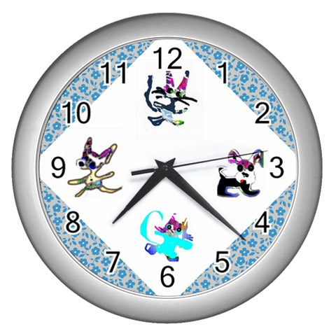Cats And Dogs Blue Clock By Riksu   Wall Clock (silver)   4huxjvmzpeaw   Www Artscow Com Front