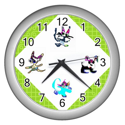 Cats And Dogs Green Clock By Riksu   Wall Clock (silver)   Eul4ej9mvsaj   Www Artscow Com Front