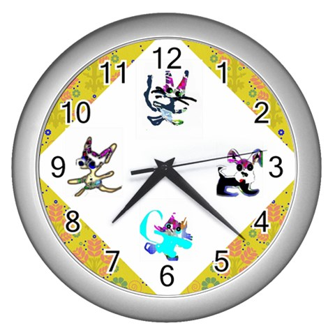 Cats And Dogs Yellow Clock By Riksu   Wall Clock (silver)   Jbq7cvtsvbvv   Www Artscow Com Front