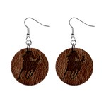 Leather-Look Horse 1  Button Earrings