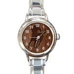 Leather-Look Horse Round Italian Charm Watch