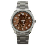 Leather-Look Horse Sport Metal Watch