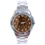 Leather-Look Horse Stainless Steel Analogue Men's Watch