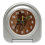 Leather-Look Horse Travel Alarm Clock