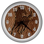 Leather-Look Horse Wall Clock (Silver)