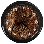 Leather-Look Horse Wall Clock (Black)