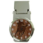 Leather-Look Horse Money Clip Watch