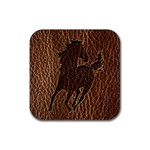 Leather-Look Horse Rubber Square Coaster (4 pack)