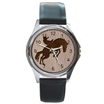 Leather-Look Rodeo Round Metal Watch