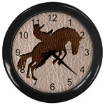Leather-Look Rodeo Wall Clock (Black)
