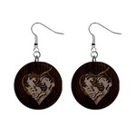 Leather-Look Heart  1  Button Earrings
