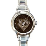 Leather-Look Heart  Round Italian Charm Watch