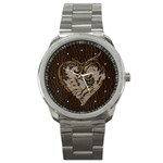 Leather-Look Heart  Sport Metal Watch