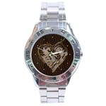 Leather-Look Heart  Stainless Steel Analogue Men's Watch
